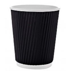 Стакан бумажный гофрированный черный 185мл Ǿ=72мм, h=72мм