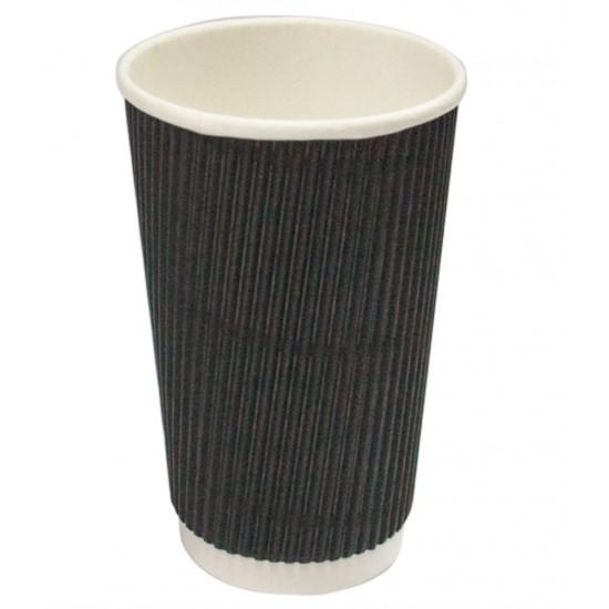 Стакан бумажный гофрированный 450мл | Черный с Белой стенкой Ø=90мм, h=140мм