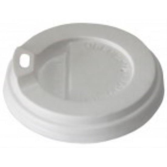 Крышка с поилкой PS Ø=81мм | Белая для бумажных стаканов