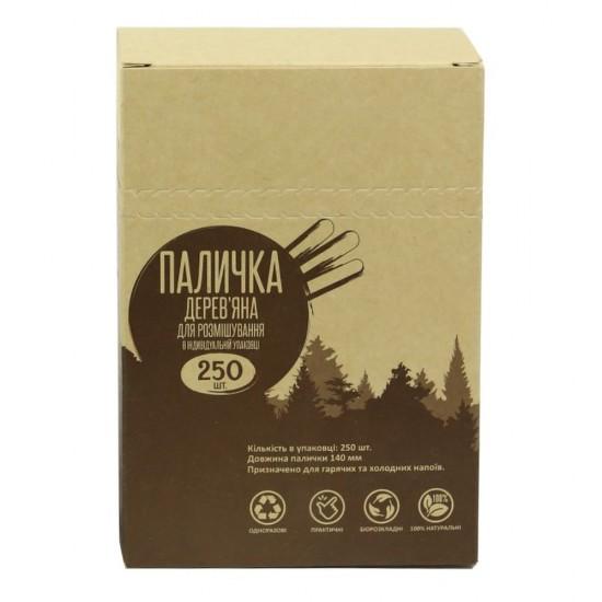 """Мешалка деревянная d=14см в инд. упаковке """"картон""""   Дерево (250шт/уп)"""
