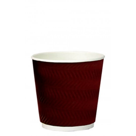 Стакан бумажный гофрированный S-волна коричневый 250мл Ǿ=80мм, h=89мм