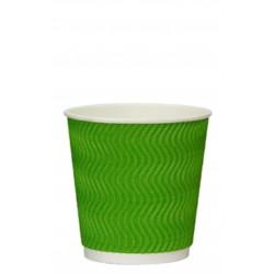 Стакан бумажный гофрированный S-волна зеленый 250мл Ǿ=80мм, h=89мм