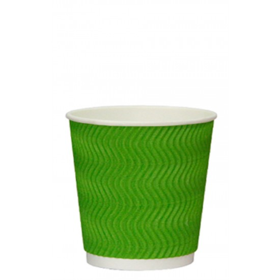 Стакан бумажный гофрированный S-волна 250мл   Зеленый с Белой стенкой Ø=80мм, h=89мм