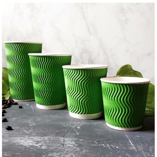 Стакан бумажный гофрированный S-волна зеленый 350мл Ǿ=90мм, h=110мм