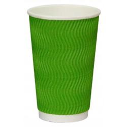 Стакан бумажный гофрированный S-волна зеленый 450мл Ǿ=90мм, h=140мм