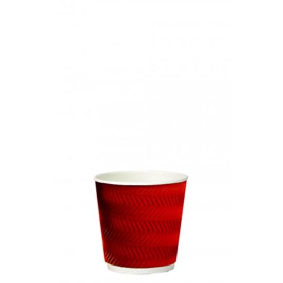 Стакан бумажный гофрированный S-волна красный 110мл Ǿ=61мм, h=55мм