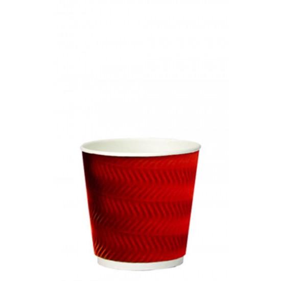 Стакан бумажный гофрированный S-волна красный 185мл Ǿ=72мм, h=72мм