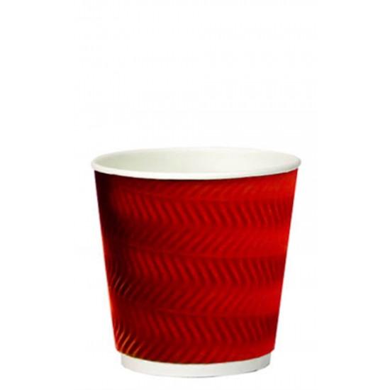 Стакан бумажный гофрированный S-волна красный 250мл Ø=80мм, h=89мм