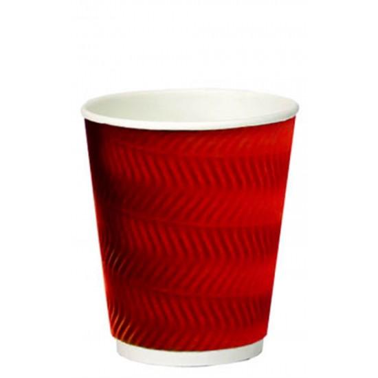 Стакан бумажный гофрированный S-волна красный 350мл Ǿ=90мм, h=110мм