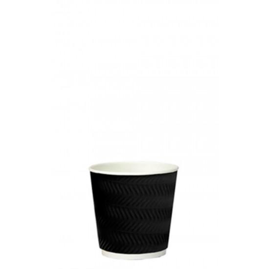 Стакан бумажный гофрированный S-волна черный 110мл Ǿ=61мм, h=55мм