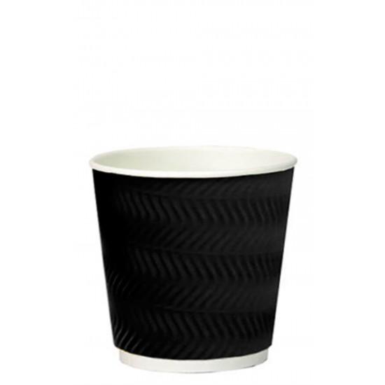 Стакан бумажный гофрированный S-волна 250мл | Черный с Белой стенкой Ø=80мм, h=89мм