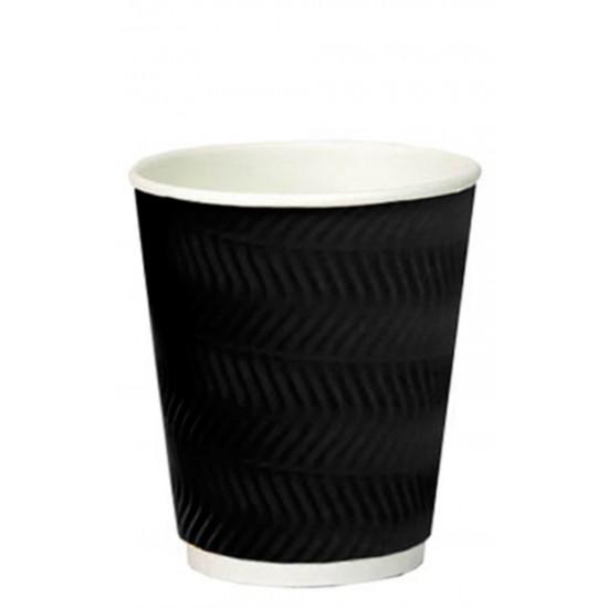Стакан бумажный гофрированный S-волна черный 350мл Ǿ=90мм, h=110мм