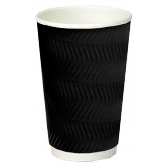 Стакан бумажный гофрированный S-волна 450мл | Черный с Белой стенкой Ø=90мм, h=140мм