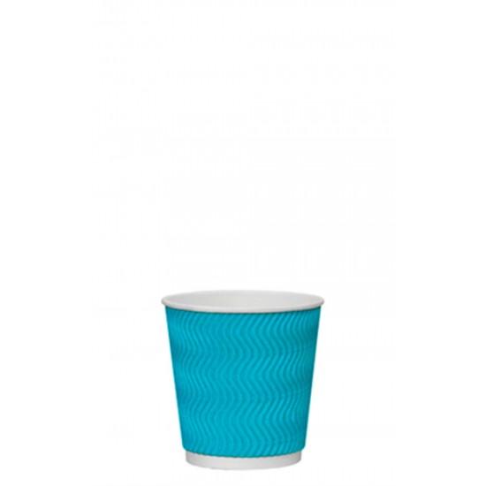 Стакан бумажный гофрированный S-волна голубой 110мл Ǿ=61мм, h=55мм