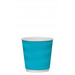 Стакан бумажный гофрированный S-волна голубой 185мл Ǿ=72мм, h=72мм