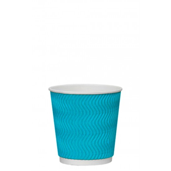Стакан бумажный гофрированный S-волна 185мл | Голубой с Белой стенкой Ø=72мм, h=72мм