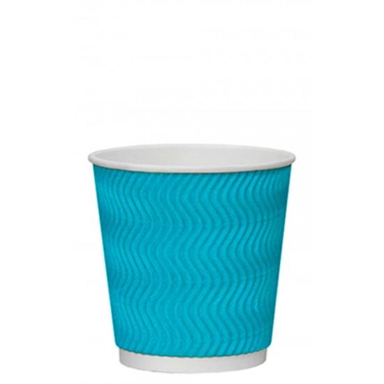 Стакан бумажный гофрированный S-волна голубой 250мл Ǿ=80мм, h=89мм