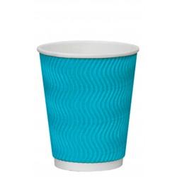 Стакан бумажный гофрированный S-волна голубой 350мл Ǿ=90мм, h=110мм