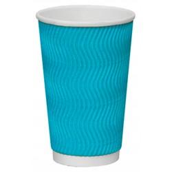 Стакан бумажный гофрированный S-волна голубой 450мл Ǿ=90мм, h=140мм