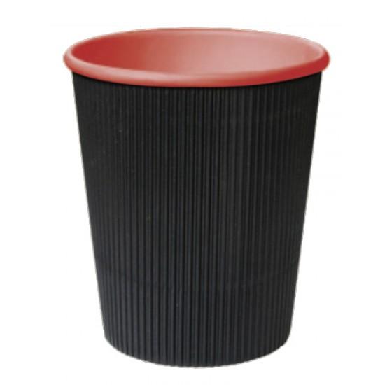 """Стакан бумажный гофрированный черный с красной внутренней ламинацией """"лабутены"""" 185мл Ǿ=71мм, h=71мм"""
