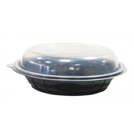 Контейнер PP 850мл с купольной прозрачной крышкой | Черный под хинкали Ø=210мм