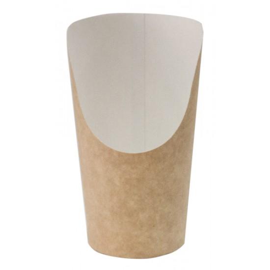 Стакан бумажный для снеков | Крафт/Белая 1PE 88*130*61мм