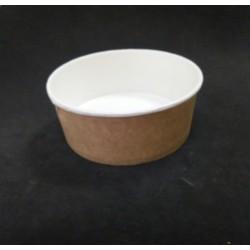 Контейнер бумажный круглый для салата и вторых блюд крафт 550мл 1РЕ Ǿ=142мм, h=53мм