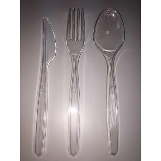 Набор одноразовых столовых приборов прозрачный (вилка, ложка ,нож, салфетка)