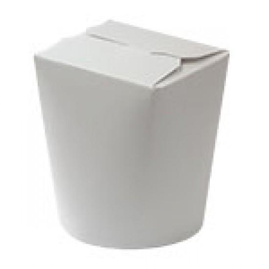 Коробка бумажная для лапши (Паста Бокс) 600мл | Белая 1PE Ø=90мм, h=103мм