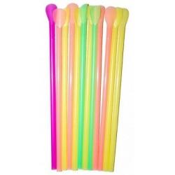 Трубочка (соломинка) цветная люминисцентная с лопаткой (100шт/уп)