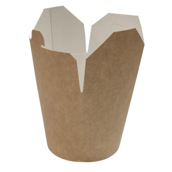 Коробка бумажная для лапши (Паста Бокс) SKB 500мл | Крафт/Белая 1PE Ø=85мм, h=96мм