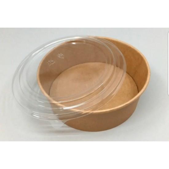 Контейнер бумажный круглый 750мл | Крафт 1PE для салата Ø=150мм, h=60мм