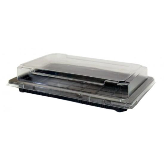 Контейнер полистирольный прямоугольный для холодных блюд (суши) черный с  прозрачной крышкой  215*135*20мм, 500мл