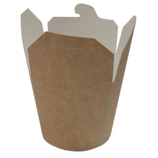 Коробка бумажная для лапши (Паста Бокс) 500мл | Крафт/Белая 1PE Ø=82мм, h=90мм