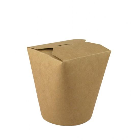 Коробка бумажная для лапши (Паста Бокс) 600мл | Крафт 1PE Ø=88мм, h=103мм