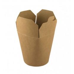 Коробка бумажная для лапши (Паста Бокс) | крафт-крафт 600 мл 1РЕ | Ǿ=88мм, h=103мм