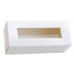 Коробка бумажная с прозрачным окошком для макарун, 1РЕ  141*59*49мм белая