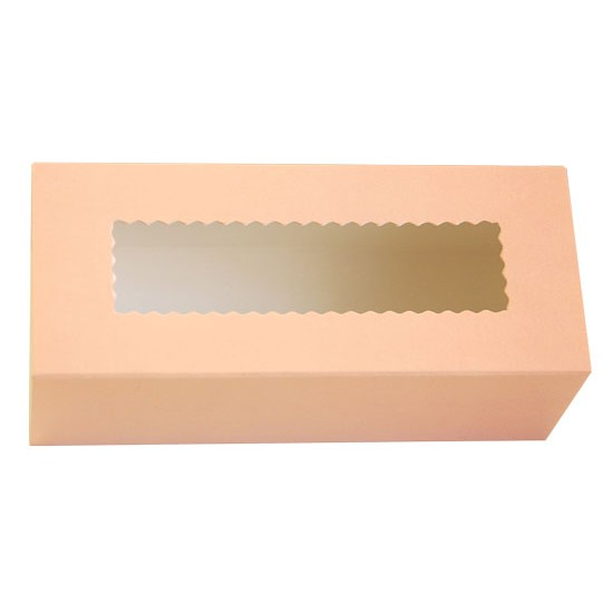 Коробка бумажная с прозрачным окошком для макарун, 1РЕ  141*59*49мм пастель
