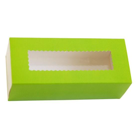 Коробка бумажная с прозрачным окошком для макарун, 1РЕ  141*59*49мм зеленая
