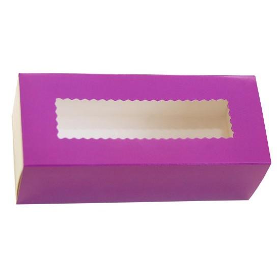 Коробка бумажная для макарун с окошком | Фиолетовая/Белая 1PE 141*59*49мм