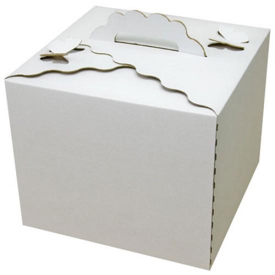 Коробка под высокий торт (бабочка) микрогофра | Белая 300*300*250мм