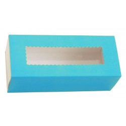 Коробка бумажная с прозрачным окошком для макарун, 1РЕ  141*59*49мм голубая