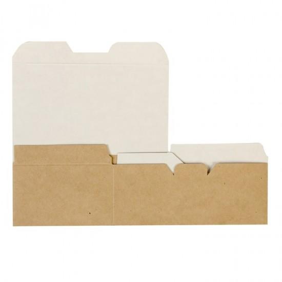 Коробка бумажная для снеков большая | Крафт/Белая 1PE 150*91*70мм