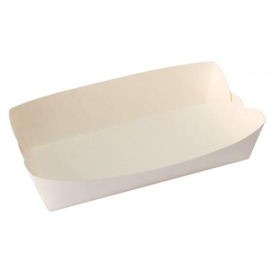 Тарелка-лодочка бумажная большая | Белая 190*95*45мм
