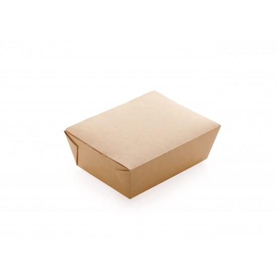 Ланч-бокс бумажный 190*150*50мм, 1РЕ крафт