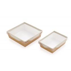 Контейнер бумажный для еды на вынос, 1РЕ крафт 150*150*50мм, 900 мл с прозрачной плоской РЕТ крышкой