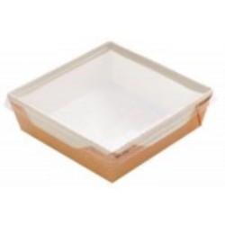 Контейнер бумажный для еды на вынос, 1РЕ крафт 165*165*65мм, 1200 мл с прозрачной плоской РЕТ крышкой