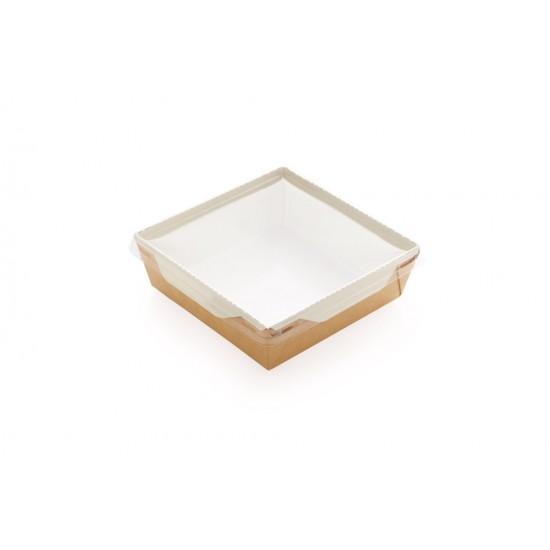 Контейнер бумажный 1200мл с плоской PET крышкой | Крафт/Белая 1PE 165*165*65мм