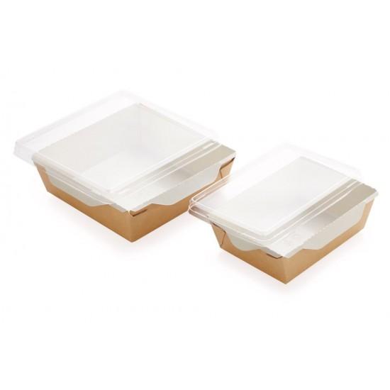 Контейнер бумажный для еды на вынос, 1РЕ крафт 145*100*45мм, 400 мл с прозрачной плоской РЕТ крышкой