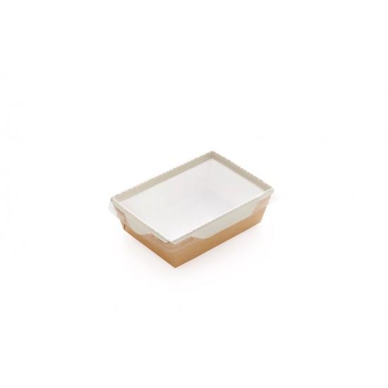 Контейнер бумажный 1000мл с плоской PET крышкой | Крафт/Белая 1PE 220*160*55мм